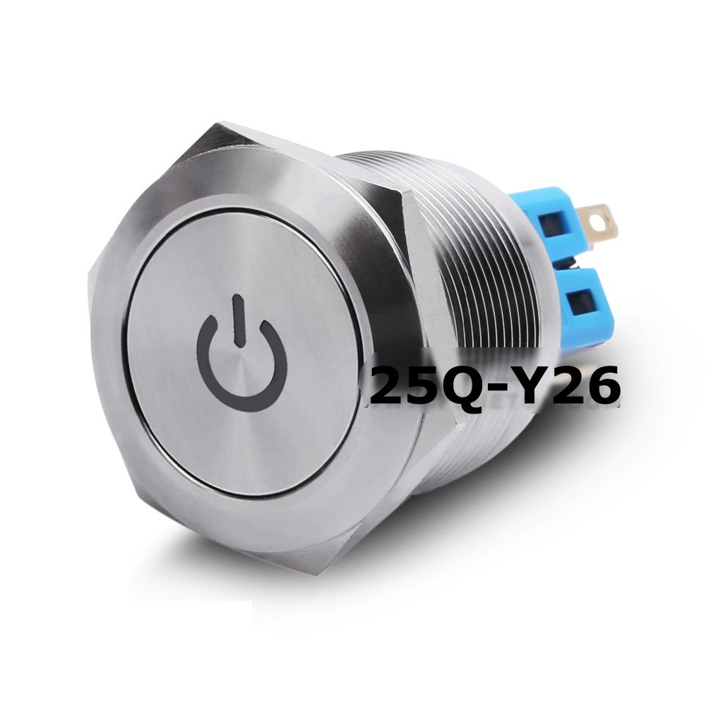 25mm Flat Power Symbol LED Head Momentary/Self-locking IP65 Stainless Steel Silver Contact 1NO1NC PIN Metal Push Button Switch