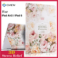 For ipad 6 Luxury 3D Stereo Relief Painting Flower Smart Magnet Leather case Stand for ipad air 2 iPad 6 Tablet cases Wake/Sleep