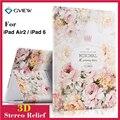 Para ipad 6 3d estéreo de luxo pintura alívio flor ímã inteligente caso estande de couro para ipad air 2 ipad 6 tablet casos Wake/Sleep