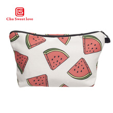 3D Printing Watermelon Makeup Bags With Multicolor Pattern Cute Cosmetics Pouchs For Travel Ladies Pouch Women Cosmetic Bag