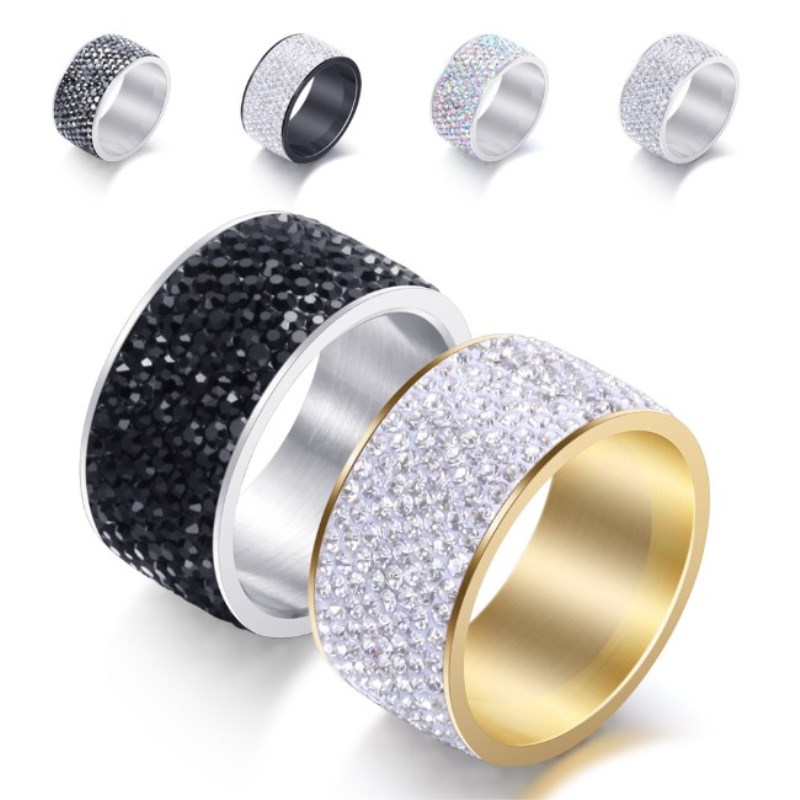 2020 New Fine Jewelry Wholesale Crystal From Swarovskis Classic Stainless Steel With 8 Rows Of Zircon Rings Fit Women And Men