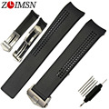 ZLIMSN 20mm Watch Strap New Black Diving Silicone Watchband Rubber Curved End Watch Band Bracelet & Clasp Buckle TAG120