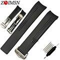 Zlimsn 20mm assista bracelete novo preto mergulho silicone faixa de relógio pulseira de borracha pulseira curvo end & fecho fivela tag120
