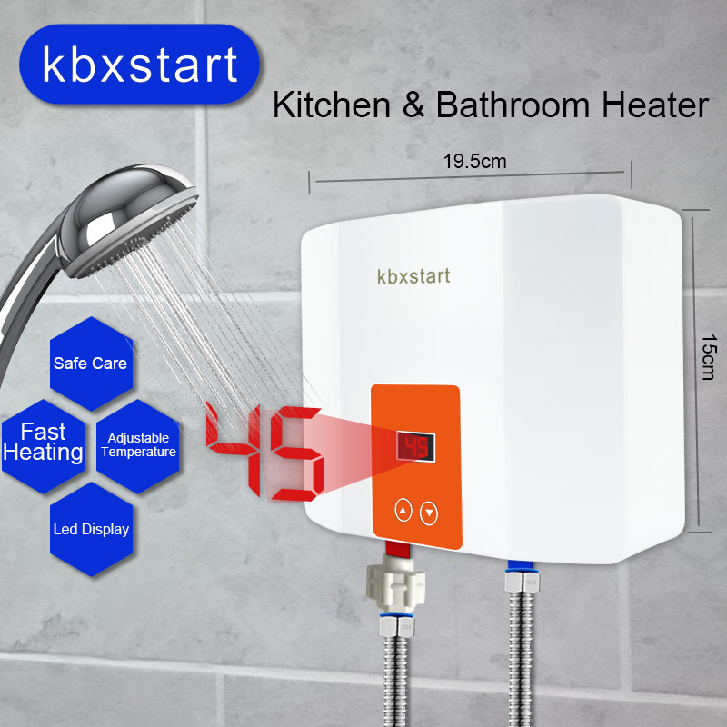 Instant Mini Water Heater Wall Mounted Electric Hot Water Heater Thermostat 3 Seconds Fast Heating Kitchen Bathroom Shower 5500W
