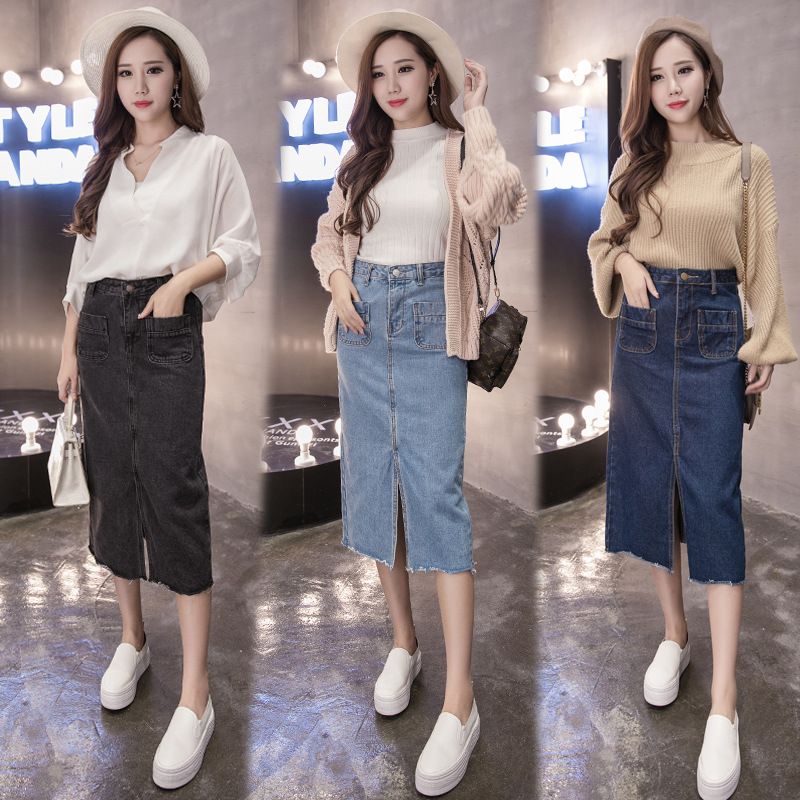 Hot Design 2017 Summer Sexy Women Fashion Denim Jeans Pencil Skirts Sexy Single Breasted Knee Length Skirt