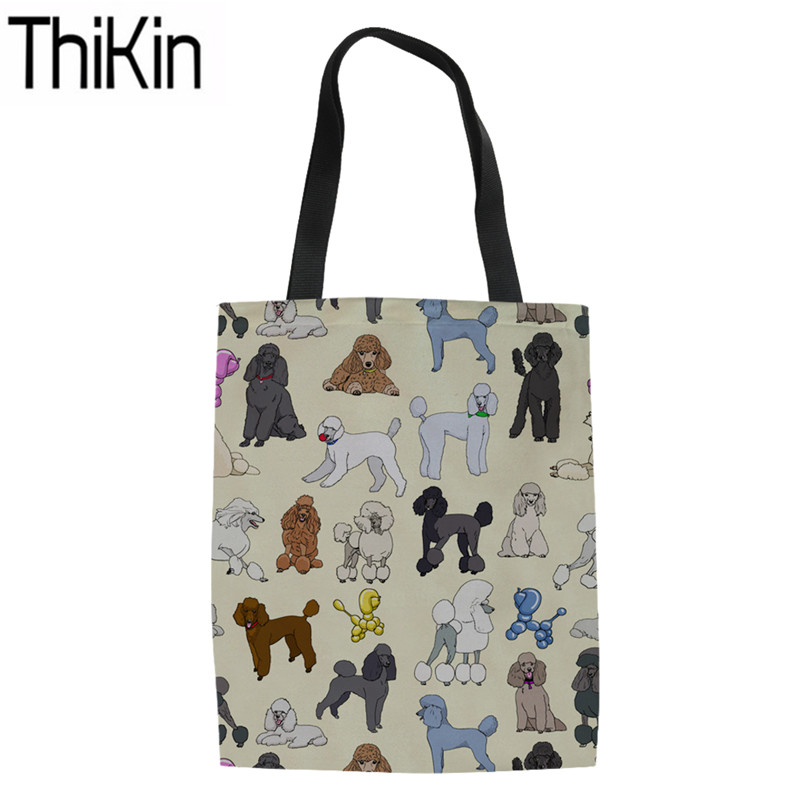 THIKIN Shopping Bags Women Poodle Printing Linen Tote Bag Ladies Large Capacity Shoulder Shopper Storage For Females Eco Bags
