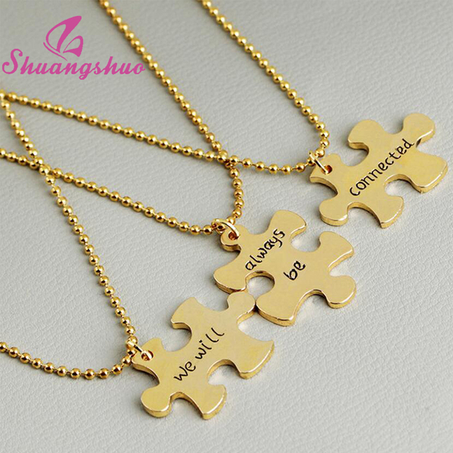 Shuangshuo we will always be connected 3 piece puzzle necklace long shuangshuo we will always be connected 3 piece puzzle necklace long chain jigsaw puzzle piece necklace aloadofball Gallery