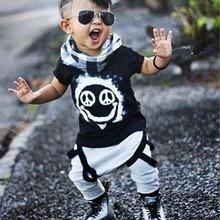 Новые модные брендовые летние комплекты одежды для маленьких мальчиков и девочек хлопковая футболка с короткими рукавами топ+ штаны, одежда для маленьких мальчиков и девочек костюмы для малышей