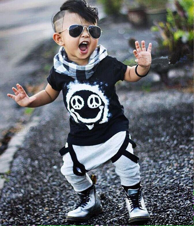 2017 Summer Baby babe boy clothing sets short-sleeved letter cotton T-shirt top + pants baby boys clothing 2pcs infant suit