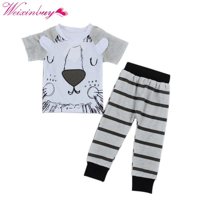 2 pcs/SET Spring Summer Infant Baby Clothing Sets Boy Cotton Short Sleeve T shirt with Pants Boys Clothes Suit