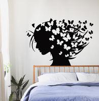Wall Decals Vinyl Decal Sticker Art Murals Decor Girl Butterflies in Hair