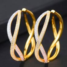 SISCATHY Unique Design Twist Cubic Zircon Statement Earrings For Women Bridal Round Circle Big Hoop Earring Wedding Jewelry 2019