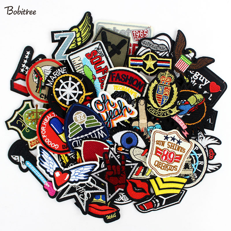 50pcs/lot  clothes patches badges iron on sewing on cropped patches for clothes backpack Stickers Appliques-in Patches from Home & Garden