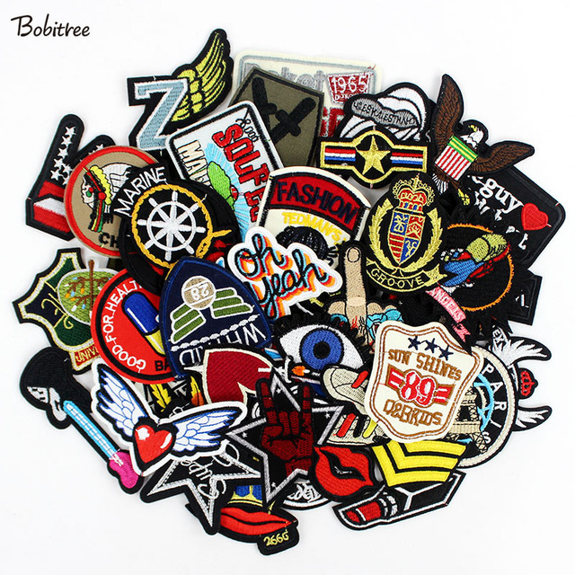 50pcs/lot  clothes patches badges iron on sewing on cropped patches for clothes backpack Stickers Appliques