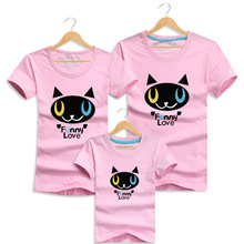 Cute Little Cat T Shirt Summer Family Look Matching Clothing Cotton Short-sleeve Tops Mom Girls Dad Son Matching Outfits Clothes
