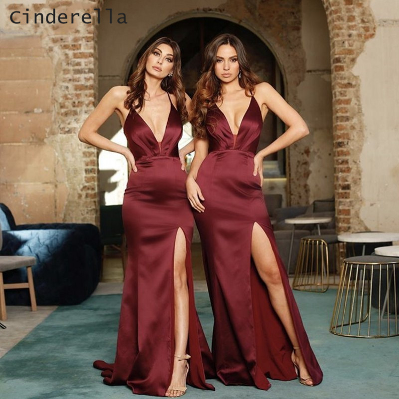 Cinderella Side Slit V Neck Spaghetti Straps Mermaid Satin Pleated Women Bridesmaid Dresses Burgundy Red Wedding Party Gown in Bridesmaid Dresses from Weddings Events