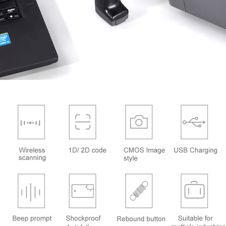 Deli USB Barcode Scanner High Performance 1D Laser Bar Code Reader for  System Supermarket Support Android/iOS /Windows