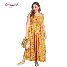 Women Sundress Plus Size S-4XL Dress Elegant Floral Print Spaghetti Strap Boho Beach Long Casual Holiday Party Vestidos