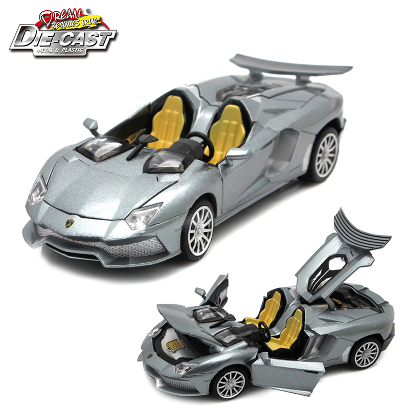 15 cm de largo Diecast Aventador J Model Car Toys para niños / niños con caja de regalo / puertas que se pueden abrir / música / función de retroceso / luz