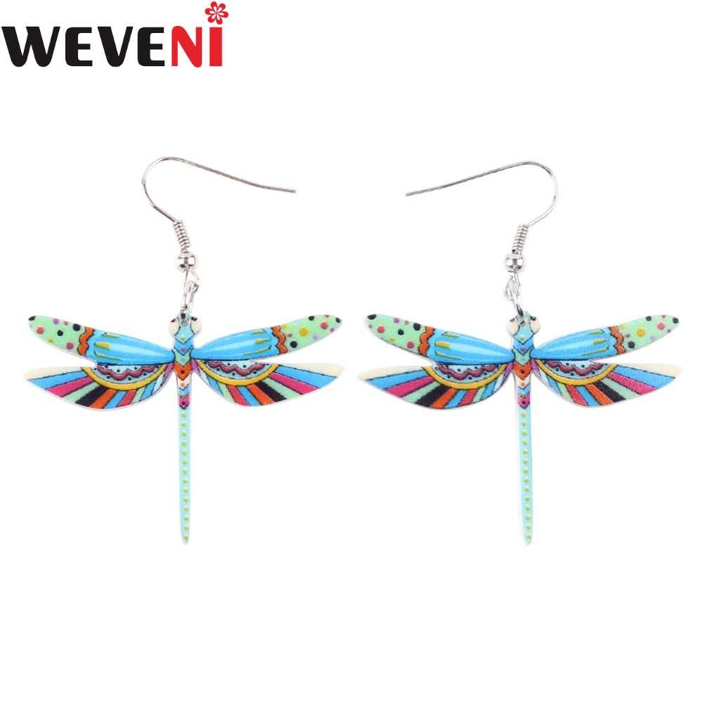 WEVENI Acrylic Drop Dangle Long Dragonfly Earrings For Women New Animal Jewelry Fashion Insect Accessories For Girl