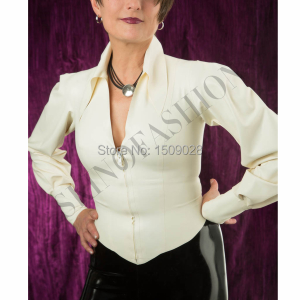 Free shipping Rubber white turn down collar tops latex fashion blouse without pants