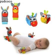 STOCK de EE. UU. 1 par de sonajeros suaves para bebé, muñeca, campana pequeña, calcetines para bebés, sonajeros para los pies, calcetines de desarrollo