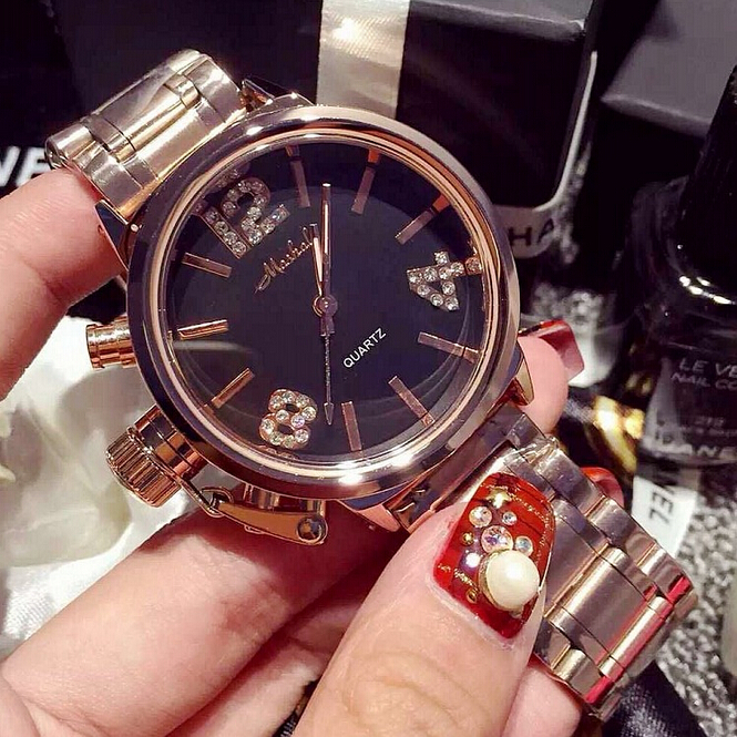 2018 High Quality Men Women Watches Luxury Six-pin Rhinestone Wristwatches Crystal Dress Watch Female Rose Gold Watch Mashali