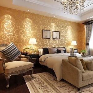 Image 3 - Роскошные Дамасские золотые и серебряные обои для стен 3 D нетканые обои для гостиной и спальни фоновые декорации обои