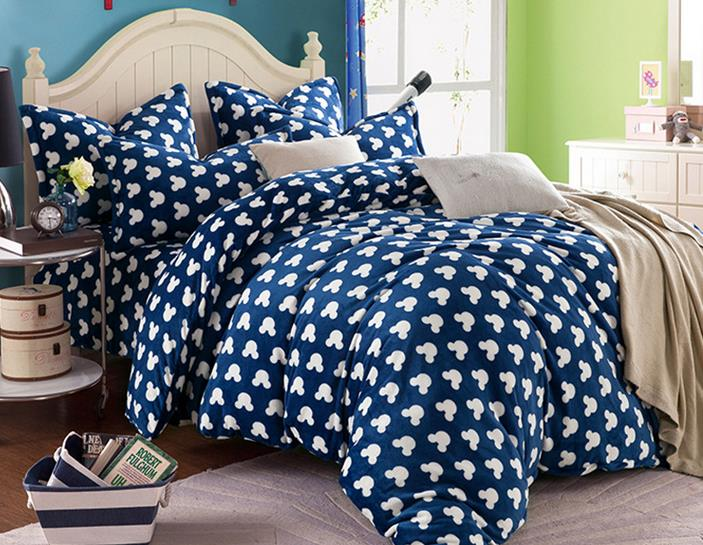Plush Mickey Mouse Bedding Sets Queen Full Size Fleece Comforter