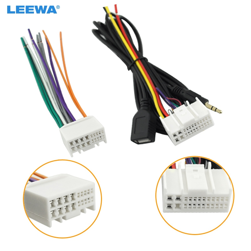Leewa Car Audio Cd Stereo Wiring Harness Adapter With Usb