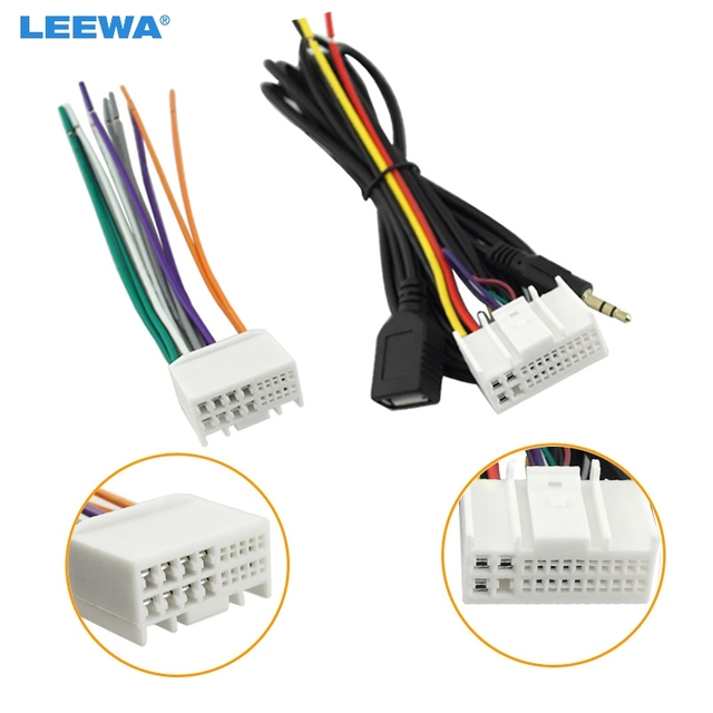 leewa car audio cd stereo wiring harness adapter usb aux 3 5mm leewa car audio cd stereo wiring harness adapter usb aux 3 5mm