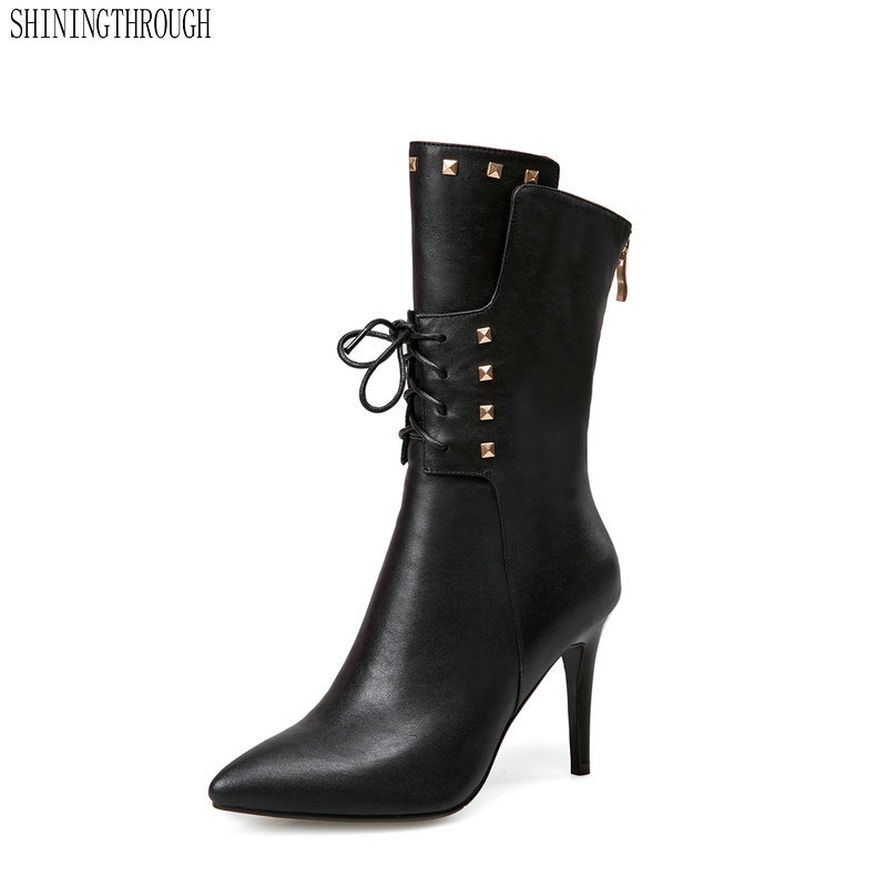 2019 high heels women mid-calf boots genuine leather lace up ladies shoes autumn winter boots woman size 41 42 43 spring autumn women thick high heel mid calf boots platform woman short boots high heels shoes botas plus size 34 40 41 42 43