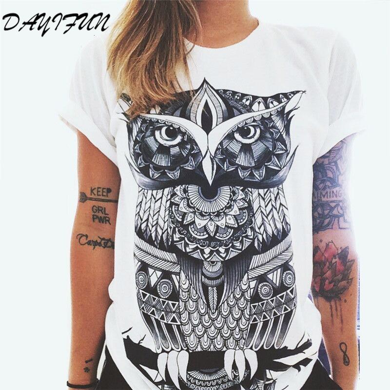 DAYIFUN New Lady T shirt Summer Women tshirts 2017 Short Sleeve Punk Rock Fashion Graphic Tees Women Letters Print  Tops T190101