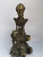 Chinês Collectible Decorado Old Copper Esculpido velho Crânio homens Escultura/estátua