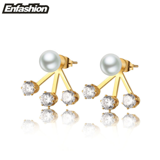 Pearl with crystal earring studs ear cuff rose gold color stud