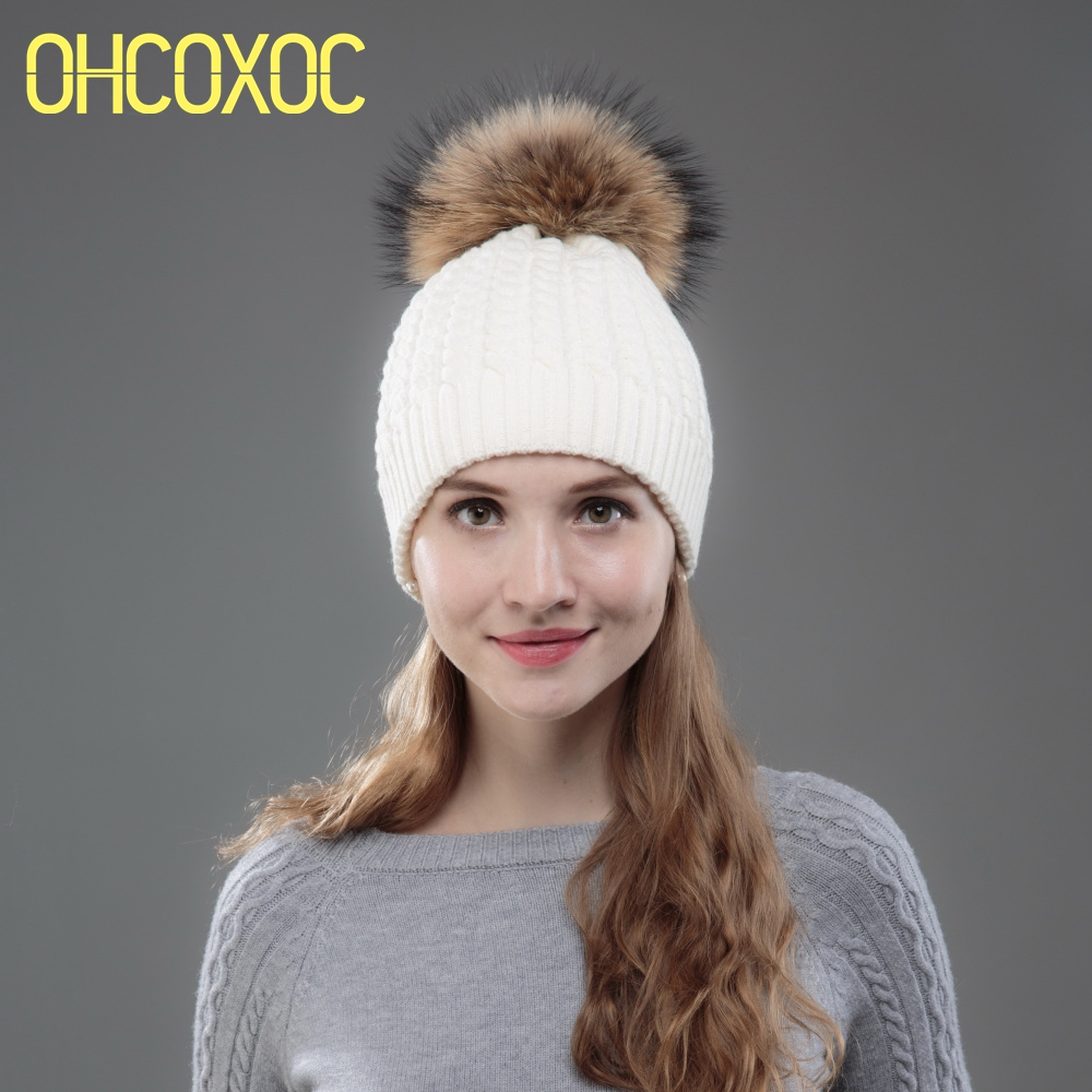 OHCOXOC New Women   Beanies   Real Mink Fur Pom Poms Ball Cap Keep Warm   Beanies     Skullies   Solid Striped White Color Girl Winter Hat