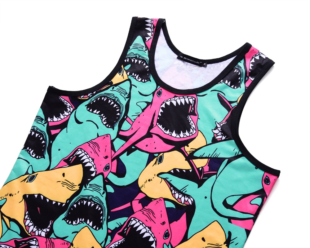 Shark Cartoon Mens Sleeveless Zipper Hooded Sweater Lifting Tank Top
