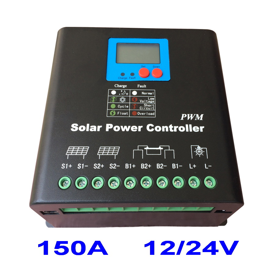 120A Solar Charge Controller 2017 New Electronic LCD Display 12V 24V ...