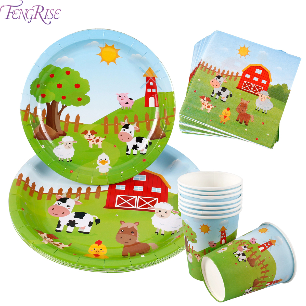 FENGRISE Farm Animal Birthday Party Supplies Paper Napkins Decor Disposable Tableware Plate Tablecloth Cup