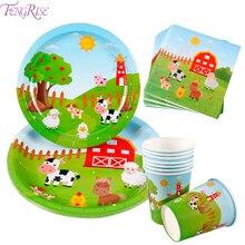 FENGRISE Farm Animal Birthday Party Supplies Paper Napkins Farm Decor Birthday Disposable Tableware Plate Farm Tablecloth Cup animal farm