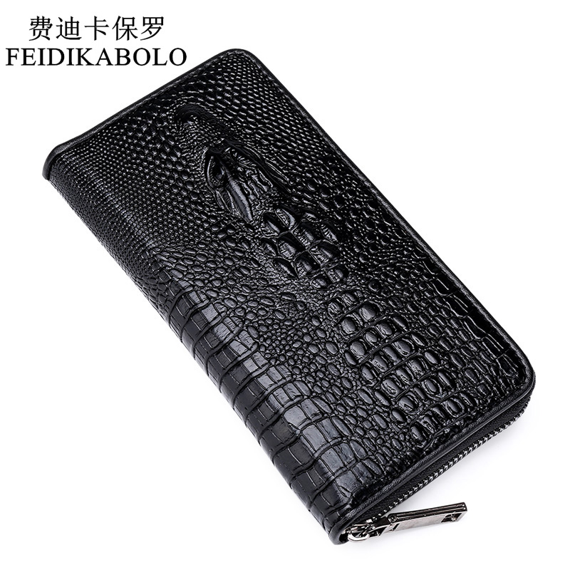 2019 Sell Well Gothic Crocodile Handbag Luxury Men's Leather Wallet Men Business Clutch Bag Zipper Long Section Clutch Bag