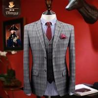 2017 Spring Business Men Suit Gray Plaid Slim Fit Blazer + Vest + Pant Suits Wedding Groom Warm Gray Single Breasted 2XL 3XL