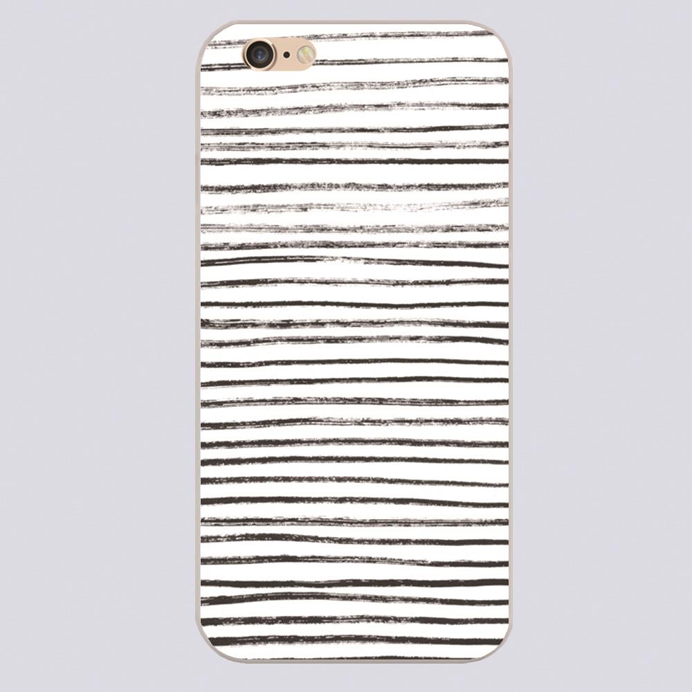 Black Brush Lines on White Design phone cover cases for iphone 4 5 5c 5s 6 6s 6plus Hard Shell