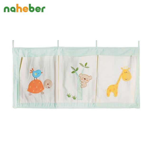 Naheber Cotton Crib Organizer Baby Cot Bed Hanging Storage Bag Toy Diaper Pocket for Newborn Crib Bedding Set Accessories