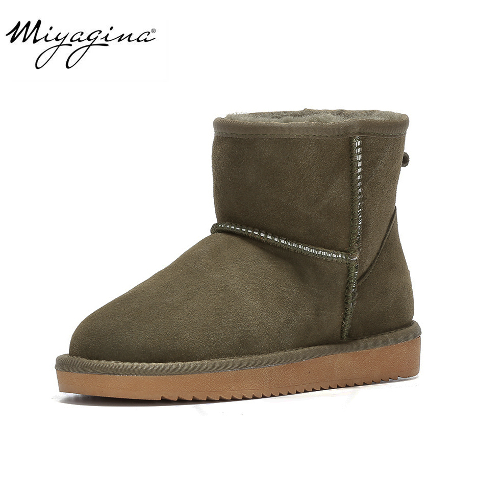MIYAGINA Australia Women Snow Boots 100% Genuine Cowhide Leather Ankle Boots Warm Winter Boots Woman shoes large size 35 44