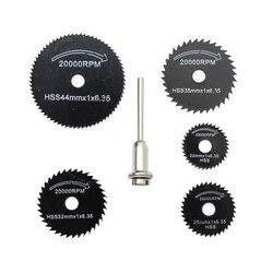 6 uds. Accesorios de taladro dremel HSS Mini hojas de sierra Circular herramientas eléctricas disco de corte de madera juego de ruedas de molienda para herramientas dremel