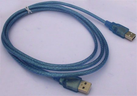 supplied by manufacture 1.5M USB Transfer cable  Transparent blue  USB AM to AM Cable