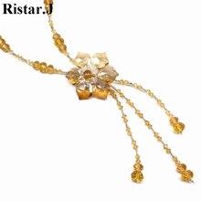 цены на Romantic Crystal Flower Long Tassel Necklace For Women Bijoux Sweater Necklaces Fashion Jewelry Birthday Gift Wholesale в интернет-магазинах