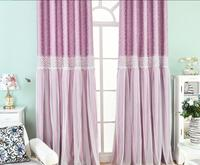 Korean Style Luxury Curtains for Living Room Girl's Bedroom Sturdy Lace Princess Pink Green Purple Lovely Decoration Curtains