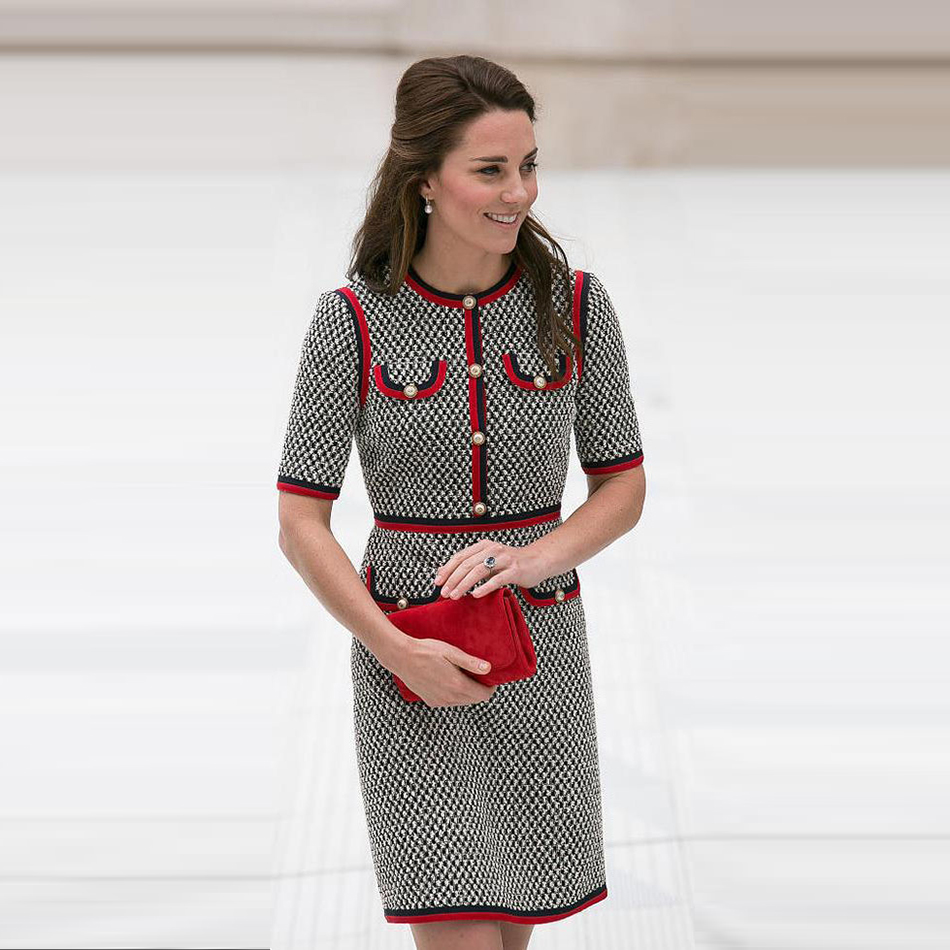 Kate Middleton Tweed Women Dress Vestidos Thick Thread Houndstooth Patchwork Dresses Round Neck Short Sleeve Slim Dress Female муфты ганзена